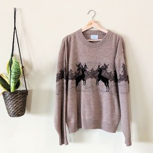 VINTAGE Deer Mountain Scene Oversize Knit Sweater